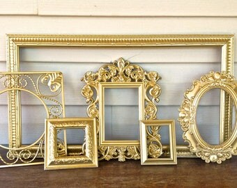 Metallic Gold  Wall Frame Gallery - Open Empty Wall Frames - Set of 6 - Hollywood Regency