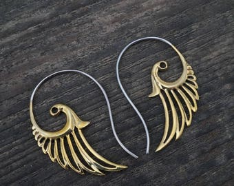Feather Earrings - wing earrings - Brass and Sterling Silver - feather wing small