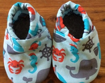 Soft sole shoes, nautical, elastic heel, crib shoes, booties, customizable, washable, infant to toddler