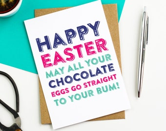 Happy Easter Chocolate Eggs Funny Easter Greetings Card