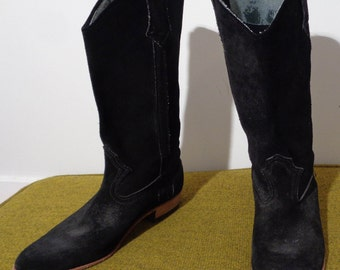 70s Black SUEDE Cowboy Boots with BLONDE WOOD Heel, Very Isabel Marant! Size 8 to 8.5