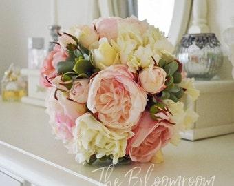 Peony rose bouquet / Succulent bouquet / Rustic bouquet / Pink / Cream / Bridal bouquet / Silk wedding flowers / Vintage inspired / Wedding