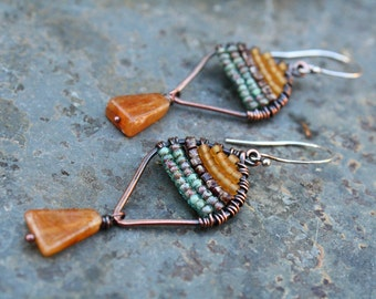 Woven Copper Earrings, Seed Bead Earrings, Oxidized Copper, Small Earrings, Lightweight Earrings, Picasso Earrings, Boho Earrings