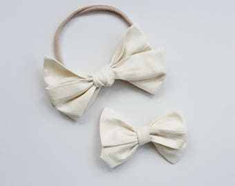 Cream Emmie bow headband or clip