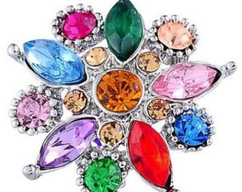Multicolor Rhinestone Snap Button For Snap Jewelry