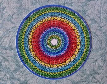 Funky Colourful Sticker- Happy Mandala by Elspeth McLean