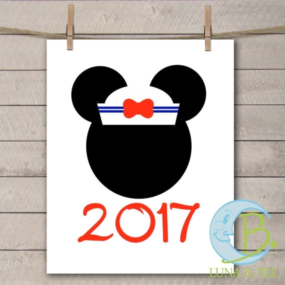 INSTANT DOWNLOAD Disney Family Vacation Cruise Sailor hat 2017 Shirts Printable DIY Iron On to Tee T-Shirt Transfer - Digital File