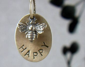 """SALE Bee Happy Sterling Necklace Queen Bee Inspirational Graduation Gift Quote """"Bee Happy"""" Honey Bumble Bee Gift for Her BFF Hand stamped"""
