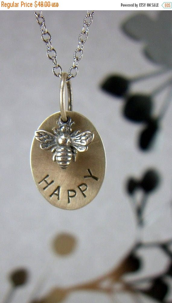"SALE Bee Happy Sterling Necklace Queen Bee Inspirational Graduation Gift Quote ""Bee Happy"" Honey Bumble Bee Gift for Her BFF Hand stamped"