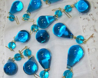12 Beautiful Blue Tear Drop Crystal Prisms With Top Bead Gorgeous