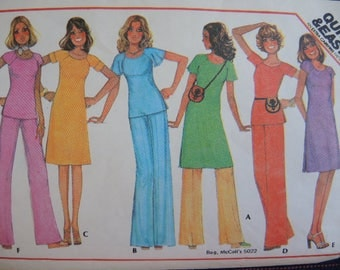 vintage 1970s McCalls sewing pattern 5086 misses dress or tunic or top and pants size 10