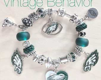 Authentic 925 PANDORA Bracelet with European Charms Philadelphia Eagles Theme