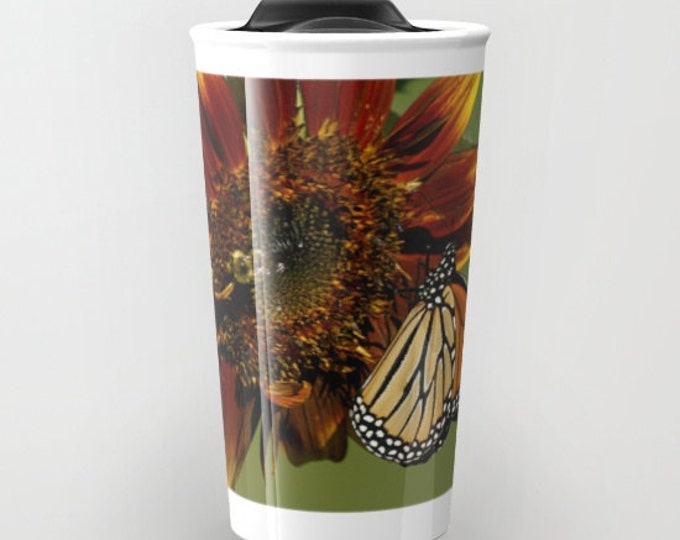 Monarch on Sunflower, travel mug, Photo Travel Mug, Photography