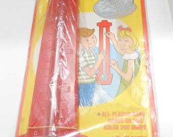 Vintage 1958 Transogram Thermometer Dime Bank--Original Packaging (#23)