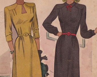 """RARE FF 40s Keyhole Neck Dress Vintage Sewing Pattern [McCall 6249] Size 14, Bust 32"""", UNCUT"""