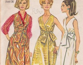 """1967 Bust 36"""" Misses' Front Wrap Dress V Neckline, Summer Dress Vintage Sewing Pattern [Simplicity 7382] Size 16, Complete"""