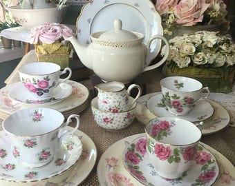 Delightful English Tea Set for 4  Shabby Chic Tea Set Instant Tea Party Bridal Shower Bride's Gift
