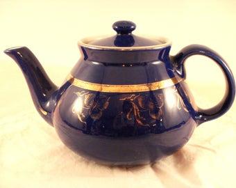 Vintage Teapot Hall 6 Cup Cobalt Blue Tea Pot Gold Trim