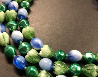 Vintage Green and blue Multi-Strand Necklace, Bib necklace , Vintage , Mid Century Necklace,