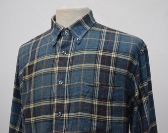 Blue Checkered Flannel Shirt