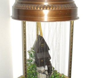 ON SALE Vintage 1970s Grist Mill/Water Wheel Rain Lamp. Large Hanging Swag with Motion & Oil. Made by Creators Inc.