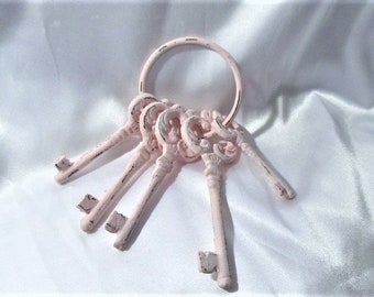 Shabby Chic 5 Cast Iron KEYS on a Ring, Hand Painted with PINK Chalk Paint, Distressed, Ornate Designs, Cottage Chic, Romantic Home Decor