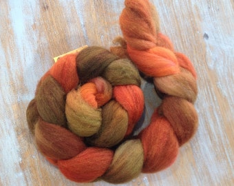 "Combed wool ""autumn leaves"" , hand dyed, wool, BFL"
