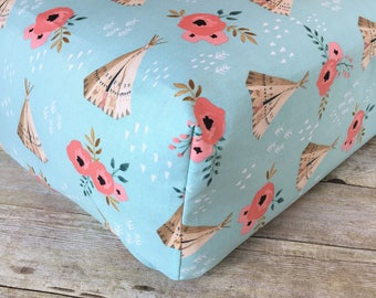 Floral Woodland Tepee crib sheet-Fitted Crib Sheet-Tepee Crib Sheet-Woodland Nursery-Modern Crib Sheet - Crib Bedding - Girl Nursery Bedding