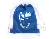 Denim Backpack cotton sack eco  tote Barcelona