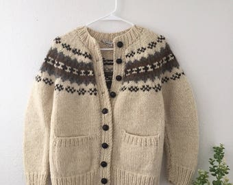 Beige Wool Knit Cardigan Sweater