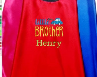 Kids Cape,  Embroidered Big Brother, Middle  Brother, Little Brother Cape Personalized with Name and Initial