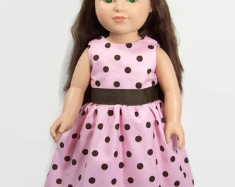 18 Inch American Doll Clothes - Pink Dress with Brown Polka Dots for 18 Inch Dolls