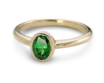 Tsavorite Green Garnet North to South Solitaire Ring in 14K Yellow, White or Pink/ Rose Gold (1ct tw) : sku 7x5-N-S