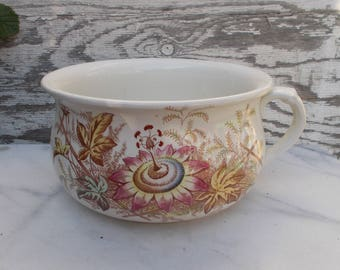 vintage chamber pot white with floral transfer