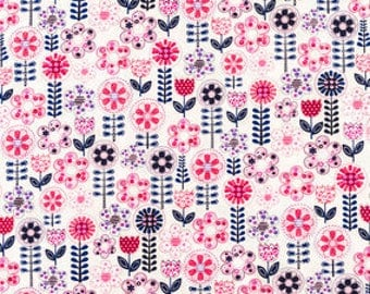 FABRIC-Pink and Navy Floral Fabric by the Yard-Quilt Fabric-Apparel Fabric-Home Decor Fabric-Fat Quarter-Craft Fabric-Fat Quarters