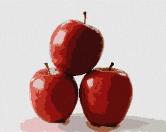 Needlepoint Kit or Canvas: Red Apples