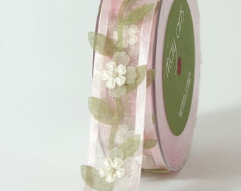 3 Yards May Arts Pink or Ivory Sheer Floral Vine Ribbon Free Shipping