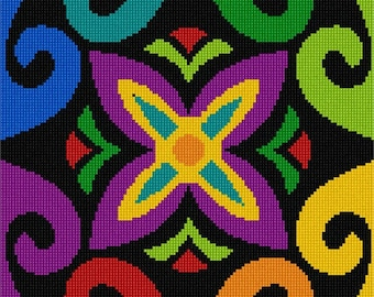 Needlepoint Kit or Canvas: Motif Square Colors