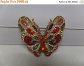 ON SALE Gorgeous Multicolored Crystal Butterfly Brooch Pendant