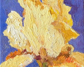 """Yellow Bearded Iris and Violet,  Purple, Lavender 4""""x4"""" Small, ORIGINAL, expressive oil painting by Maine artist Adrienne Kernan LaVallee"""
