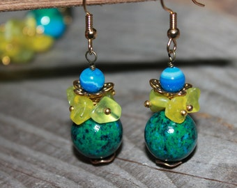 Forest Lake Gemstone Earring  Boho chic Nature jewelry Rustic jewelry  Woodland Blue Green earrings  gold-plated hooks Always in Fashion