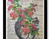 Human Heart Print, Floral Heart Art, Human Heart Artwork, Colorful Human Heart Print, Human Heart Artwork, Anatomical Art, Anatomical Print