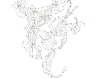 Swim, a print from an original pen and ink line drawing by Suzanne Baxter