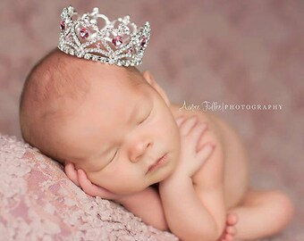 Newborn Crown, Princess Crown, Photo Prop, newborn crown photo prop, baby crown, photography prop, crystal crown - Pink Accent Lydia