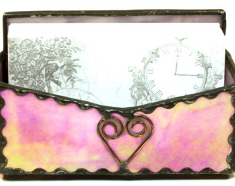 Pink Purple Rose Iridescent Stained Glass Business Card Holder Card Stand
