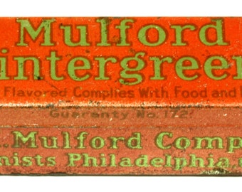 Antique H. K. Mulford Company Wintergreens Mint TIn Pharmaceutical Co Drug Store - Breath Mints