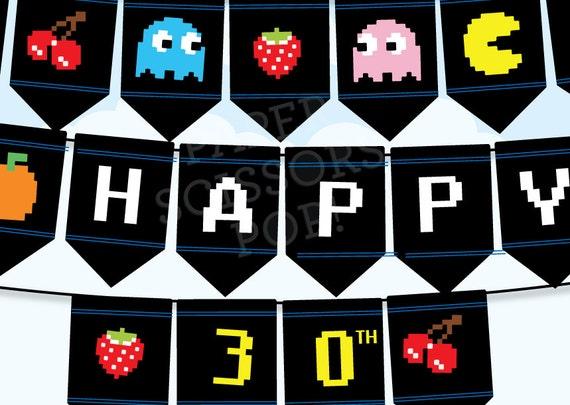 Wonderful Retro Party Decor Pacman Game 80's Gaming Party Printable Birthday  MQ32