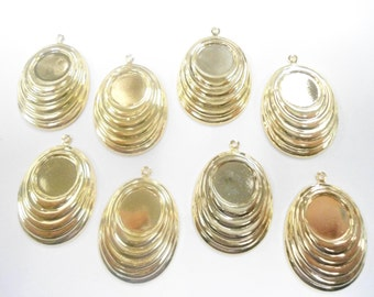 8 Vintage Goldplated Earring Pendants with 13mm Setting