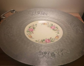Cromwell Hand Wrought Aluminum Large Serving Platter and Locked in Plate
