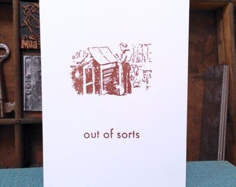 Typesetter, out of sorts, Copper Embossed Card, Vintage Printer's Block Image & Type, White Folded Card/Envelope